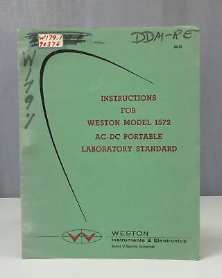 Weston Model 1572 AC-DC Portable Laboratory Standard Instruction Manual