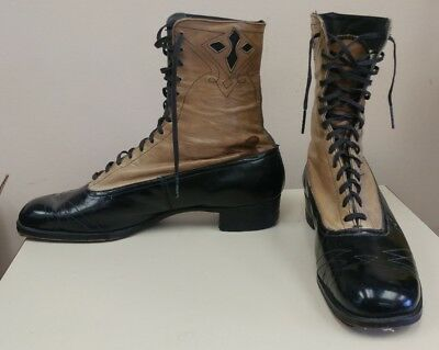 Antique Roberts Johnson & Rand Two-tone Leather Mens Lace Up Boots Shoes size 5