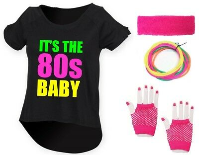 IT'S THE 80s BABY Ladies Drop Top & Accessories Fancy Dress Costume Outfit Neon
