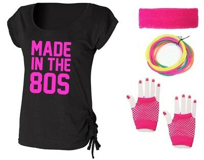 MADE IN THE 80s Ladies Top & Accessories Fancy Dress Costume Outfit Neon 80's