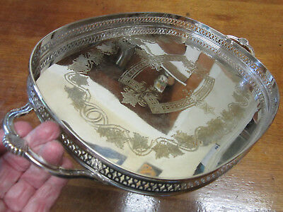Old Antique Butlers Size Silver Plate Sheffield Style Gilded Chased Tray c1950