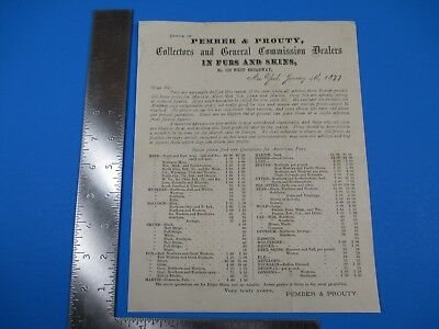 Antique 1877 Pember & Prouty Furs and Skins Commission Dealers Letterhead M3285