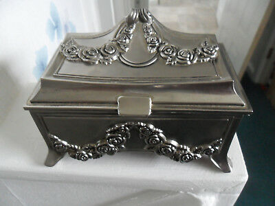 Vintage Silver Plate Jewellery Box With Floral Relief Design