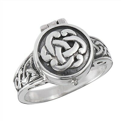 Celtic Knot Poison Ring Pillbox .925 Sterling Silver Opens Size 7, 8, 9, 10