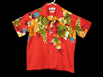 Vintage BOYS HAWAIIAN SHIRT JCPenney 1960's 1970's Tropical Surfer Red Childrens