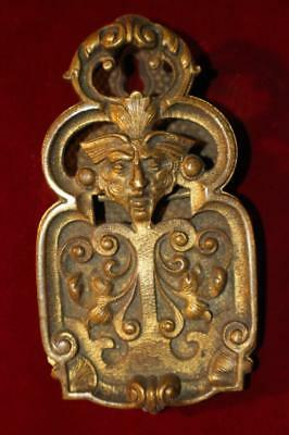 """Rare Ornate Victorian Brass """"North Wind"""" Paper Clip Good Strong Spring"""