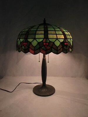 Spectacular Williamson Leaded Glass Lamp With Marbled Emerald Green And Ruby Red
