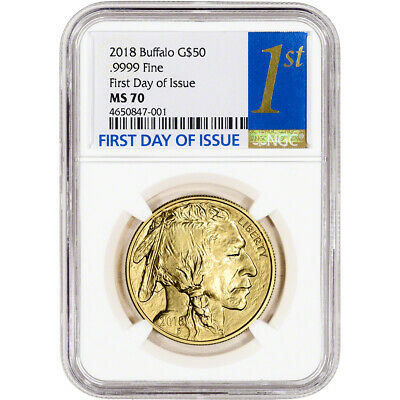2018 American Gold Buffalo (1 oz) $50 - NGC MS70 First Day of Issue 1st Label