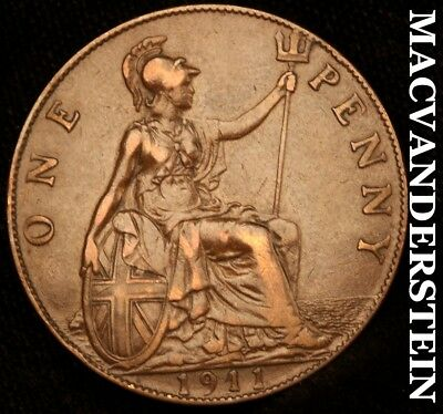 Great Britain: 1911 One Penny - Scarce!!  Better Date!!  No Reserve!!  #y2494