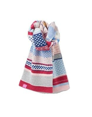Joules NEW Pink Blue Girls One Size Faith Fair Isle Sparkle Knit Scarf #904