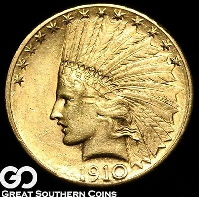 1910-S Gold Eagle, $10 Gold Indian, BU++ ** Free Shipping!