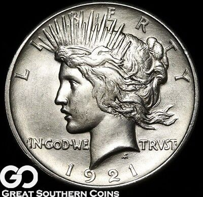 1921 Peace Dollar, High Relief, Avidly Pursued Sharp Key Date
