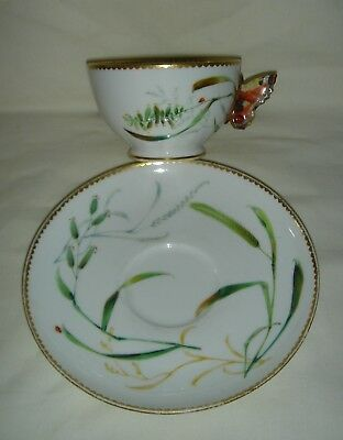 Antique Royal Worcester Hand Painted Cup & Saucer With Butterfly Handle #9030