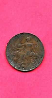 France French Km842 1906 Fine-Nice Old Antique Vintage 5 Centimes Coin