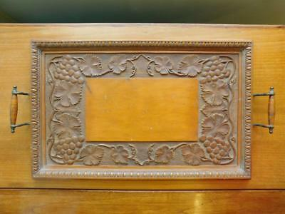 Excellent Large Edwardian hand carved Wood Tea Tray 1900s Grapevine Pattern