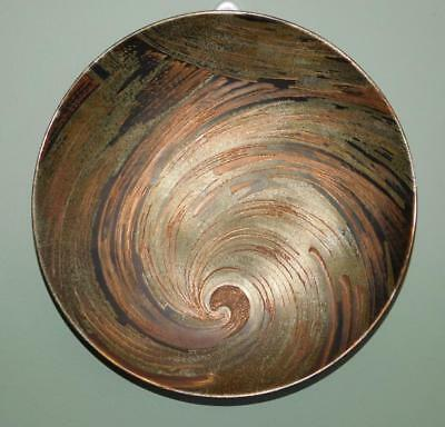 Rare WMF Dinanderie Brass Silver & Copper Engraved Swirl Wall plate Plaque c1930
