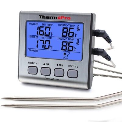 Digitales Grill-Thermometer Bratenthermometer Fleischthermometer mit Timer zwe