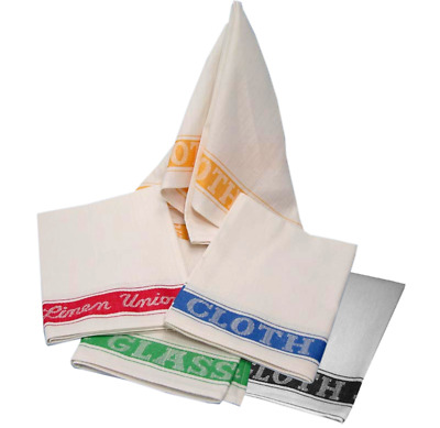 Pack Of 4 Linen Union Bar Kitchen Restaurant Glass Drying Polish Cloth Tea Towel