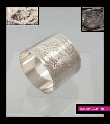 PUIFORCAT ANTIQUE 1880s FRENCH STERLING SILVER EXPORT NAPKIN RING Napoleon III