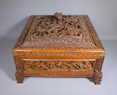 Superb Antique Chinese Deeply Hand Carved Sandalwood Box Casket 19Th Century