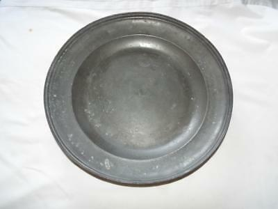 "Antique Georgian 15.75"" pewter charger bowl with triple reeded rim."