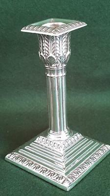 C2: Marvellous H/M Sterling Silver Antique Reeded Column Candlestick Sheff 1900