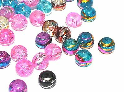 GLASS OILY DRIZZLE COLOURED DRAWBENCH ROUND CRAFT JEWELLERY BEADS - 4mm 6mm 8mm