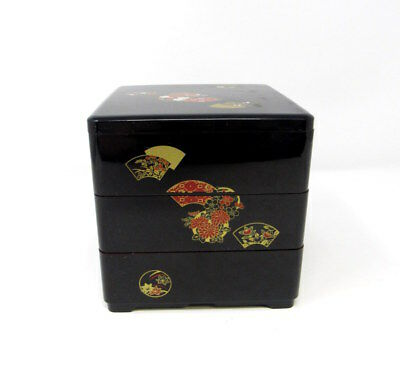 Three Tier Japanese Floral Black Lacquer Stacking Jubaco Bento Box Set (SHJ)