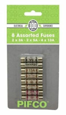 PIFCO Pack Of 8 Cartridge Fuses 3/5/13 AMP Domestic Household Mains Plug Ceramic