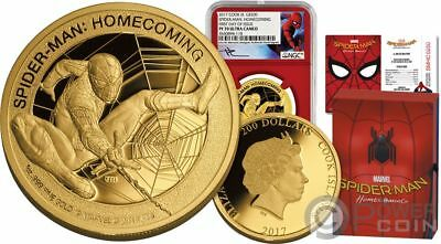 SPIDERMAN Homecoming Marvel Stan Lee 1 Oz Gold Coin 200$ Cook Islands 2017