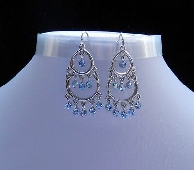 Vintage Style Chandelier Earrings with Lt Sapphire Crystals E2264
