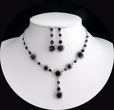 Elegant Jet/Black Diamond Necklace & Earrings Set With Stunning Crystals N3008C