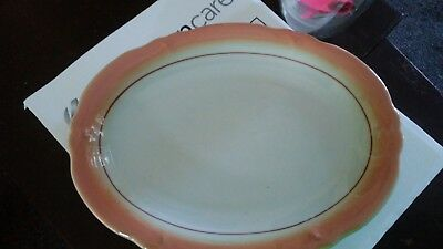 small restaurant style platter, white with coral trim, vintage