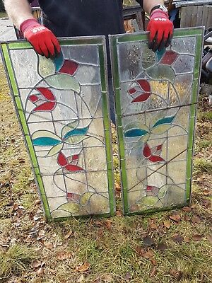 Pair of antique vintage stain glass windows resto display light architectural