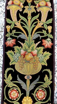 Rare Early 19Thc French Polychrome Needle Work Long Panel Jacobean Designs