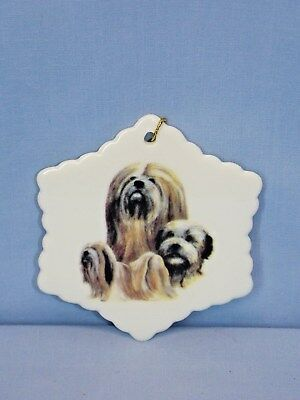 Lhasa Apso Dog 3 View Snowflake Porcelain Christmas Tree Ornament-L