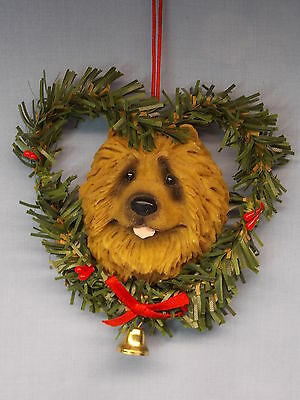 Red Chow Dog in Heart Wreath Resin Material Christmas Tree Ornament 3 1/2 Inch