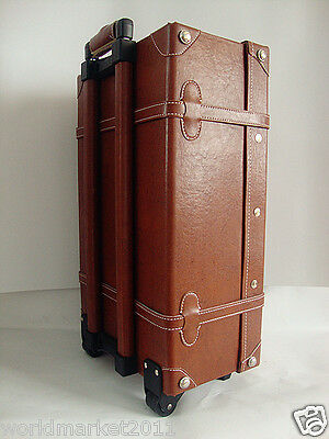 Vintage Style Brown L33*W18*H57CM PU Leather Travel Suitcase/Luggage Trolley