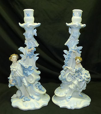 """Antique Pair German Figural 15"""" Candlesticks Candle Holders Blue & White Germany"""