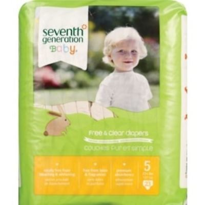 NEW Seventh Generation - Free & Clear Diapers Size 5, 26 ct Pack of 4