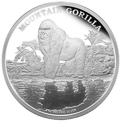 Niue Islands 2 Dollar Endangered Animals Mountain gorilla 1 Ounce Silver 1 oz,