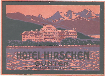 HOTEL HIRSCHEN luggage DECO label (GUNTEN)