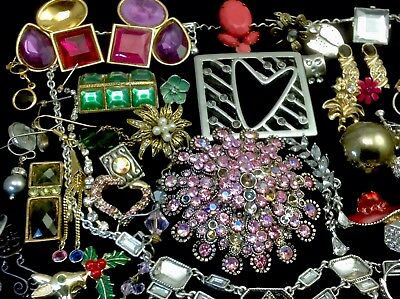 Large Lot Of Vintage~Now Rhinestone, Crystal.. Jewelry For Repair, Parts (E323)