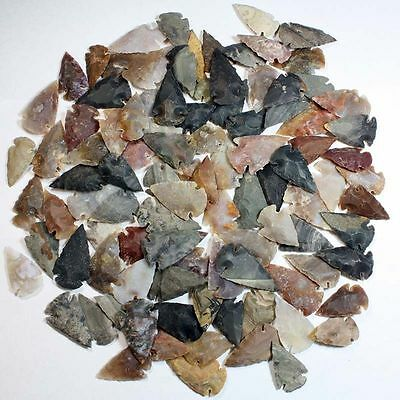 Collection Of 100 Stone Arrowhead Points... High Quality