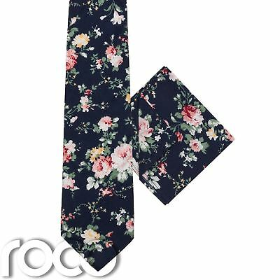 Boys Navy Tie & Pocket Square Set, Boys Floral Tie & Hanky Set