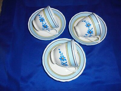 3 Vintage Tuscan China Cups & Saucers - art Deco