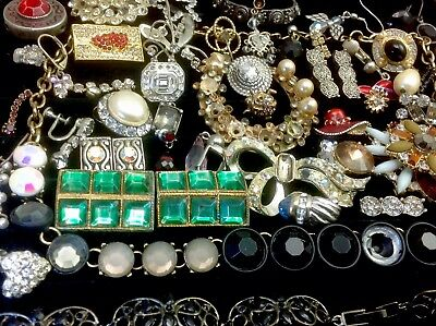 Large Lot Of Vintage~Now Rhinestone, Crystal.. Jewelry For Repair, Parts (E328)