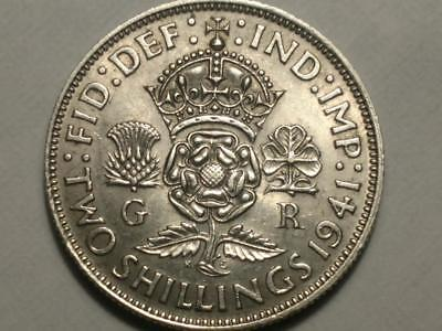 Great Britain 1941 Silver Two Shillings - Free U.S. Shipping