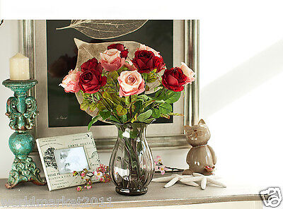 Home Decoration Vase + Fabric Simulation Flowers Pink and Red Total Length 45cm