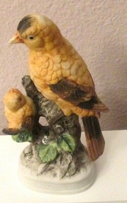 """Hand Painted Japan Goldfinch Adult & Baby Bird on Branch  Colorful 6 1/2"""""""